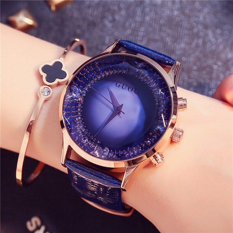 Guou grande dial mujeres relojes 2018 marca de lujo impermeable rhinestone señoras vestido Reloj simple relojes mujer reloj negro