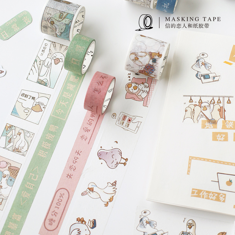 Mohamm Cute Duck Series Set Kawaii Planner Handbook Decorative Paper Washi Masking Tape School Supplies Stationery