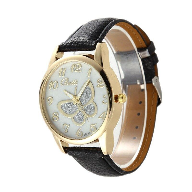 Rotating Moment Women's Watches Fashion Butterfly Watch Women Wrist Wathes PU Leather Elegant Analog Quartz Lady Watch Clock Hour Montre Femme