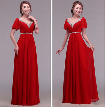 Cheap New 2016 formal bandage lace up red long beading chiffon V-neck prom party gown vestidos longo vestido evening dress
