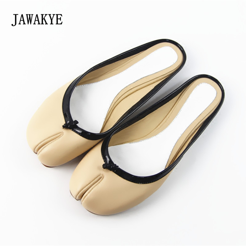 cc5045390 New Fashion Split Toe Women slippers Genuine leather Slip on Flat Shoes  Runway Beach Caged Shoes