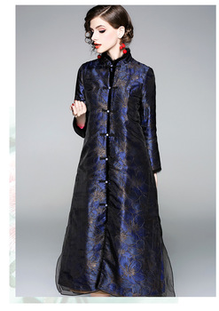New Winter original design Chinese style jacquard cotton lining long-section windbreaker outerwear jacket with organza for women