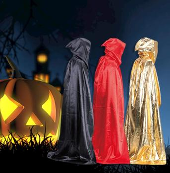 Unisex Cloak Halloween Party Devil Vampire Style Hooded Cloak Adult Full Length Mopping Style Cloak image