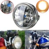 7 ''Calowy Czarny Motocykl Okrągłe Reflektory Halogenowe H4 Żarówka Lampy Głowy Side Góra Styl Głowy Światła Nadające Się Do Honda CB400 CB500 CB1300