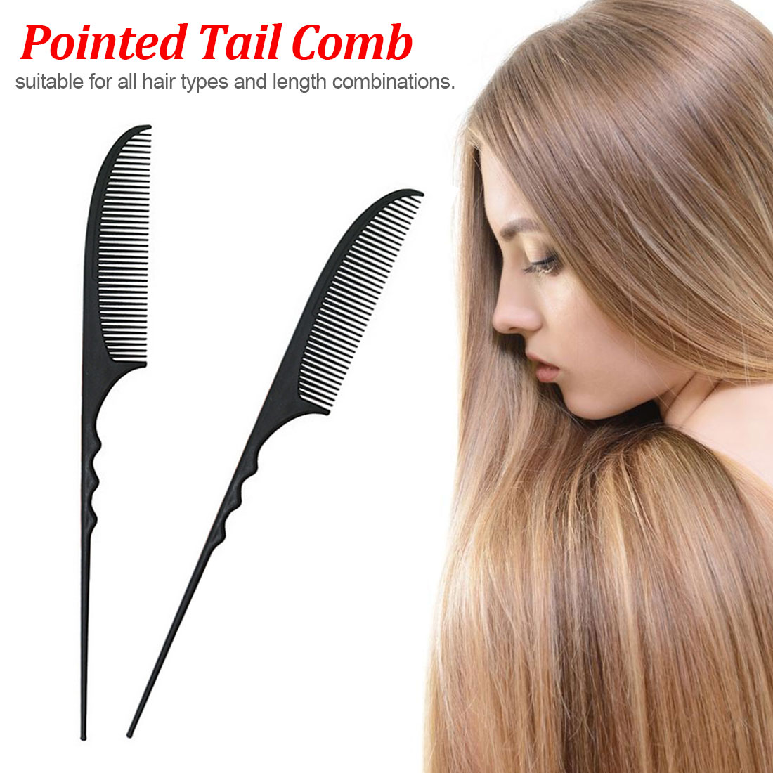 Hair Pointed Tail Hairdressing Styling Comb Clip Design Brush Tools Nice Type Hairbrush Carbon Fiber Tools