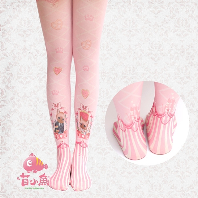 Princess sweet lolita pantyhose Original candy color velvet printed cute cate cross band pink pantyhose print lolita tights