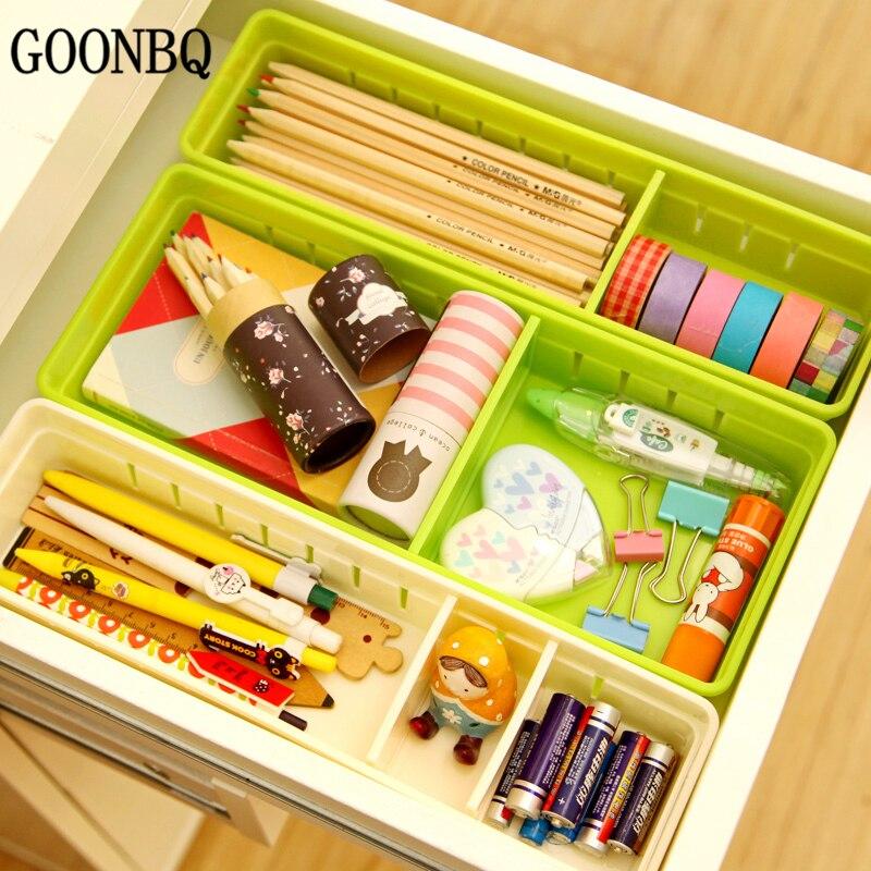 GOONBQ 1 pc 2 sizes Office Organizer Storage Box Plastic ...