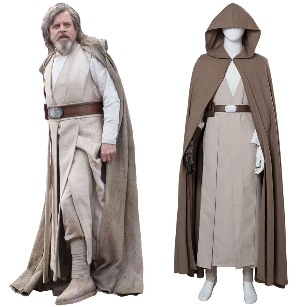 (In Stock)Star Wars 8:The Last Jedi Luke Skywalker Costume Adult Men Halloween Carnival Cosplay Costumes Robe CLOAK Suit