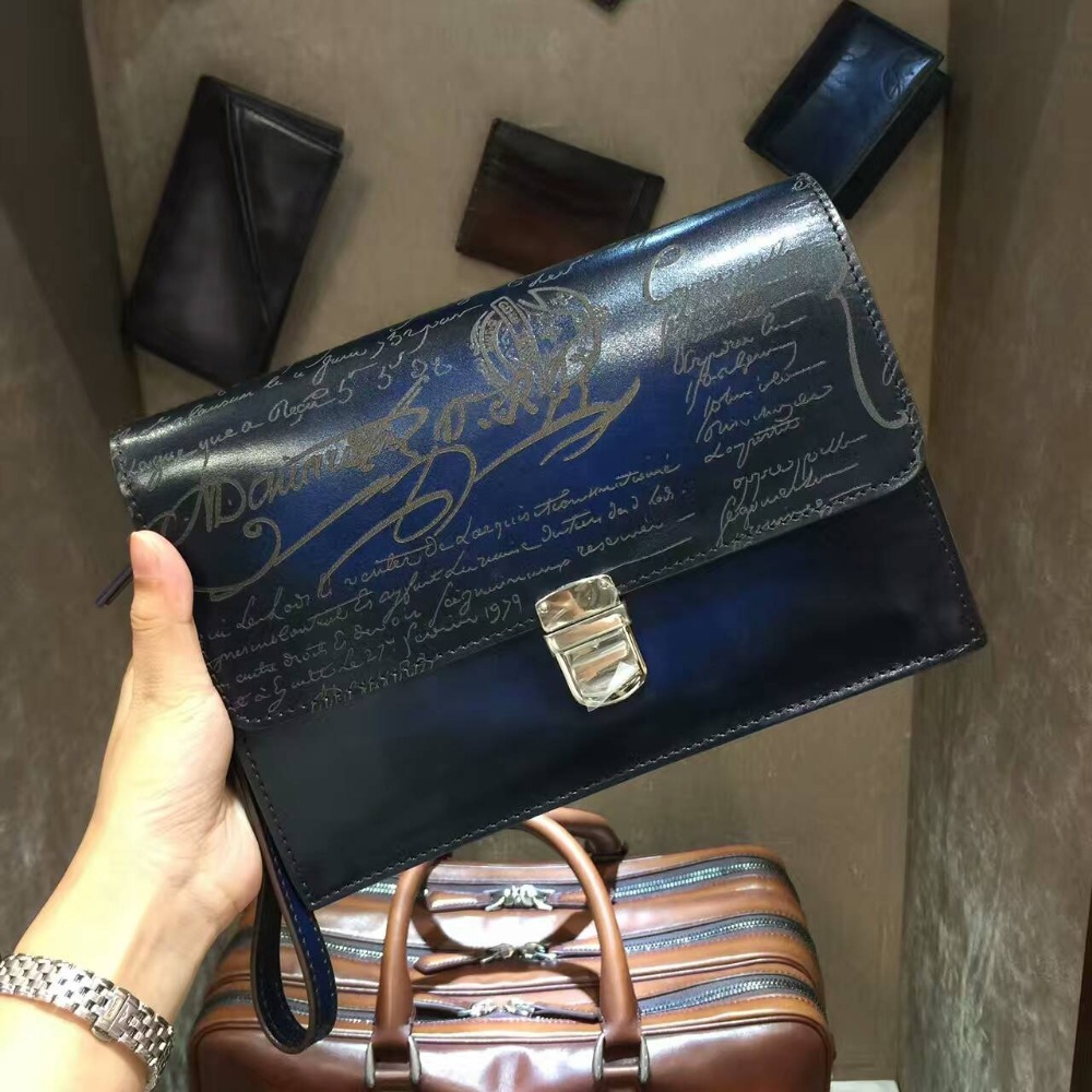 TERSE_Vintage designer leather clutch bag 2 colors engraving service luxury clutch hasp wrist loop bag handmade genuine leather