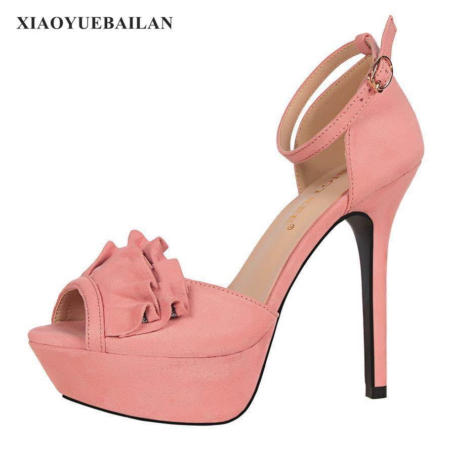Sweet High-heeled Shoes, Super High Water Table, Textured Hollow Bow, Fish Mouth, One Word Sandals
