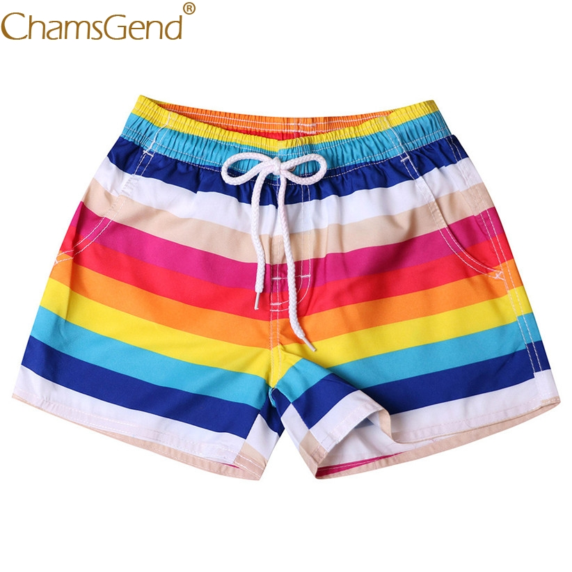 Newly Design Women Rainbow Striped Board   Shorts   Woman Summer Beach Quick Dry Swimsuits Bath Clothes Woman Clothes 90110