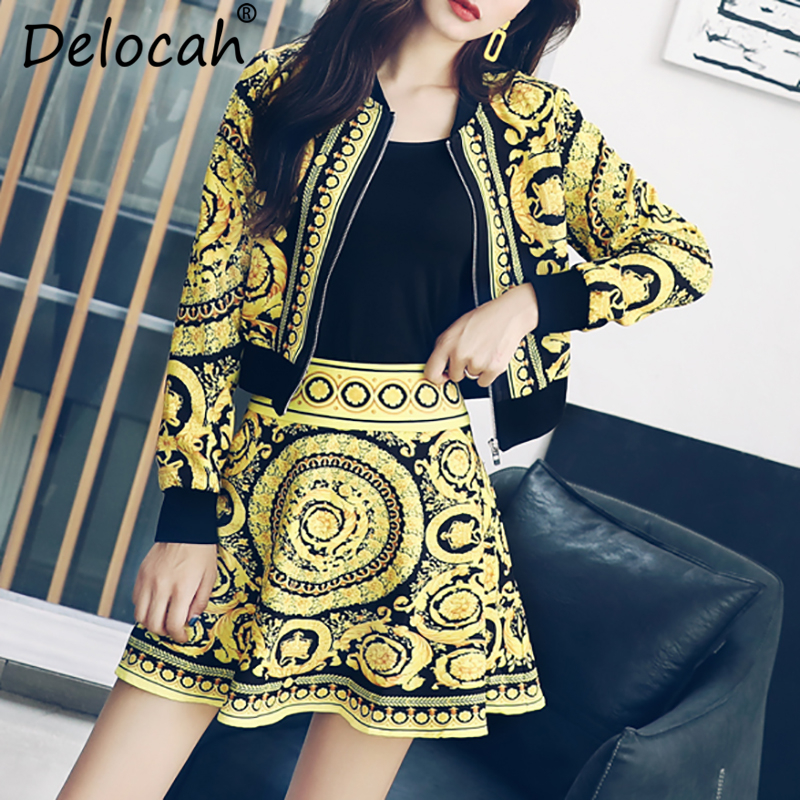 Delocah Autumn Women Set Fashion Designer Long Sleeve Vintage Printed Modern Slim Mini Skirt Two Pieces