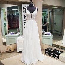 Elegante Tiefem v-ausschnitt Prom Kleider 2017 Weiß Chiffon Abendkleid kleider Perlen Abendkleider 2017 Vestido de Festa Longo Formale kleider