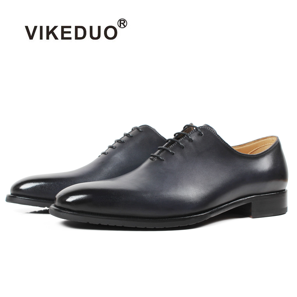Vikeduo 2019 New Handmade Designer Fashion Luxury Grey Wedding Male Oxford Shoe Calfskin Genuine Leather Patina Men Dress ShoesVikeduo 2019 New Handmade Designer Fashion Luxury Grey Wedding Male Oxford Shoe Calfskin Genuine Leather Patina Men Dress Shoes