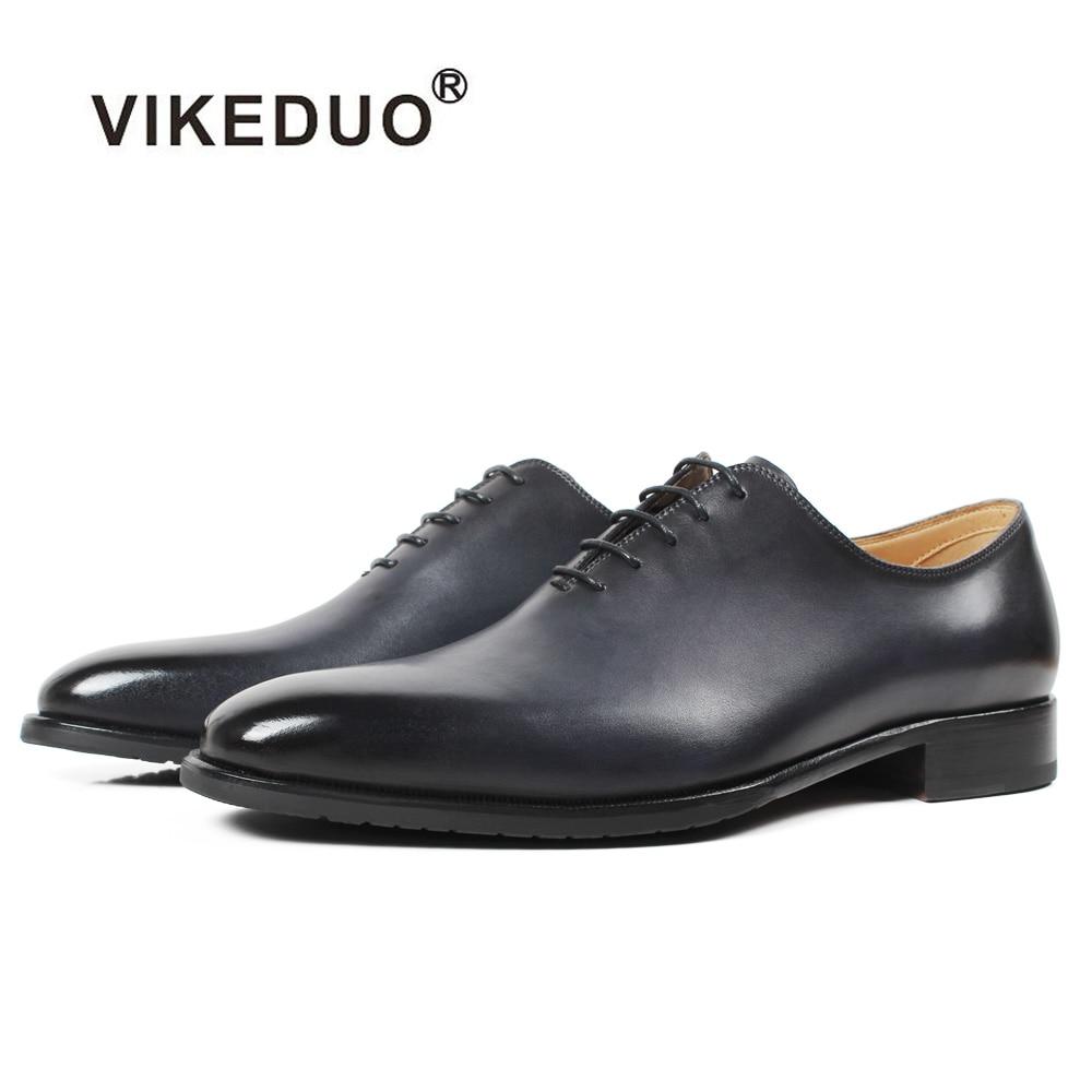 Vikeduo 2019 جديد اليدوية مصمم الأحذية الأزياء رمادي الزفاف الذكور أكسفورد حذاء جلد العجل جلد طبيعي الزنجار الرجال اللباس الأحذية-في حذاء أوكسفورد من أحذية على  مجموعة 1