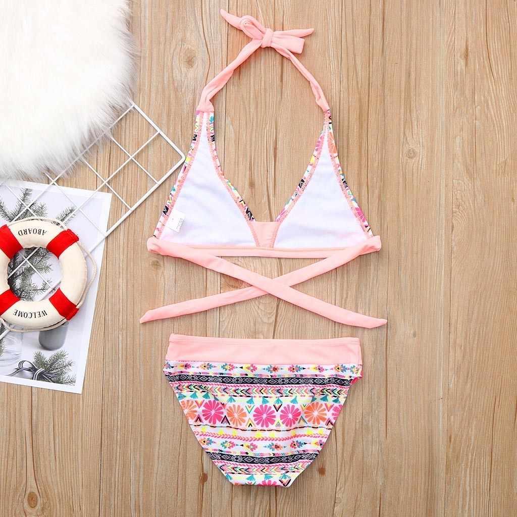 2019 детский купальник для маленьких девочек, Детский бикини, пляжный купальник с цветочным принтом + шорты, купальный Комплект для младенцев, купальник moda praia biquini