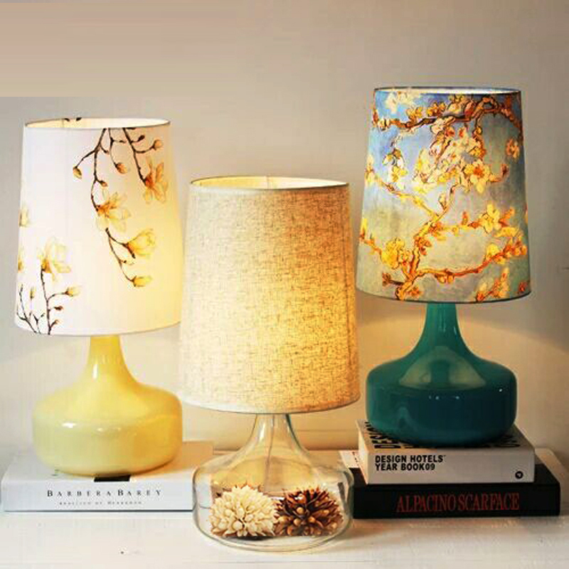 Desk Lamps Table lamp Nordic simple creative pastoral linen bedroom bedroom living room warm bedside lamp CL ZS99 lo1024 tuda glass shell table lamps creative fashion simple desk lamp hotel room living room study bedroom bedside lamp indoor lighting