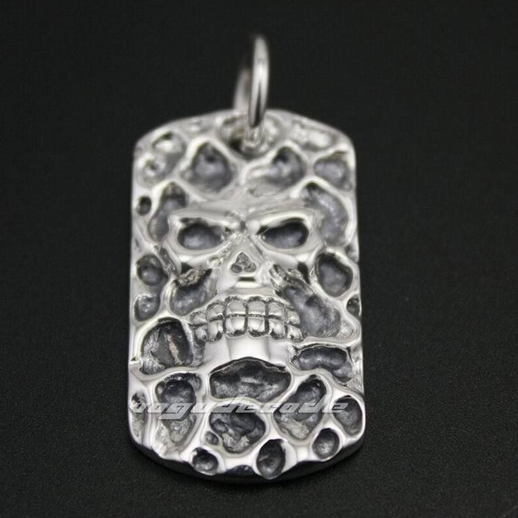 Solid 925 Sterling Silver Skull Dog Tag Mens Biker Pendant 8C004(Necklace 24inch) solid 925 sterling silver claw skull mens biker pendant biker jewellery 8c007 necklace 24inch