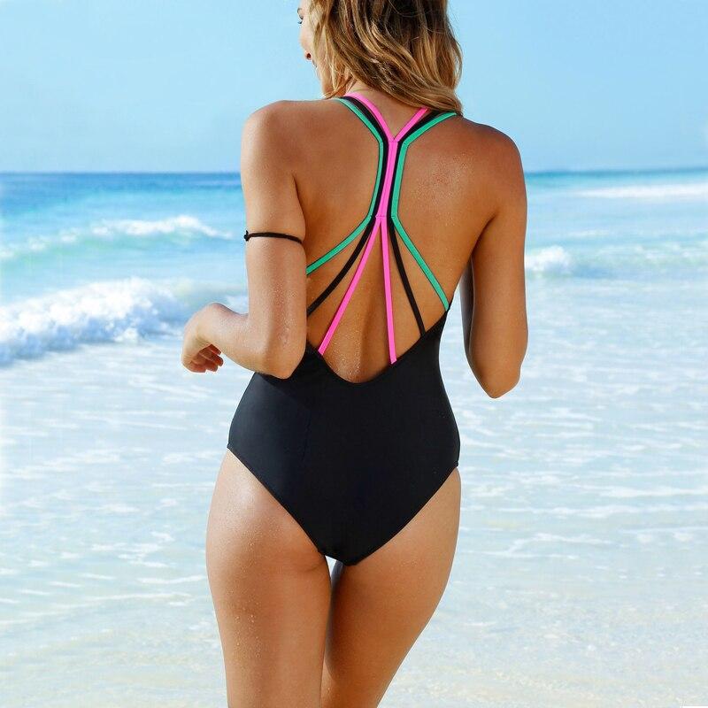 Bathing Suit Women One Piece Swimsuit Solid Push Up Swimwear Large Size Thong Bikini Black Blue Maio Monokini Swimming Suit 2019-1