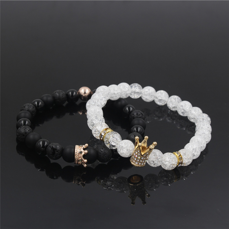 New 2Pc/Sets Natural 8/6mm Stone Beads Couple Bracelets for Women Micro Pave CZ Crown Charms Bracelet Men Jewelry Pulseras Mujer 11