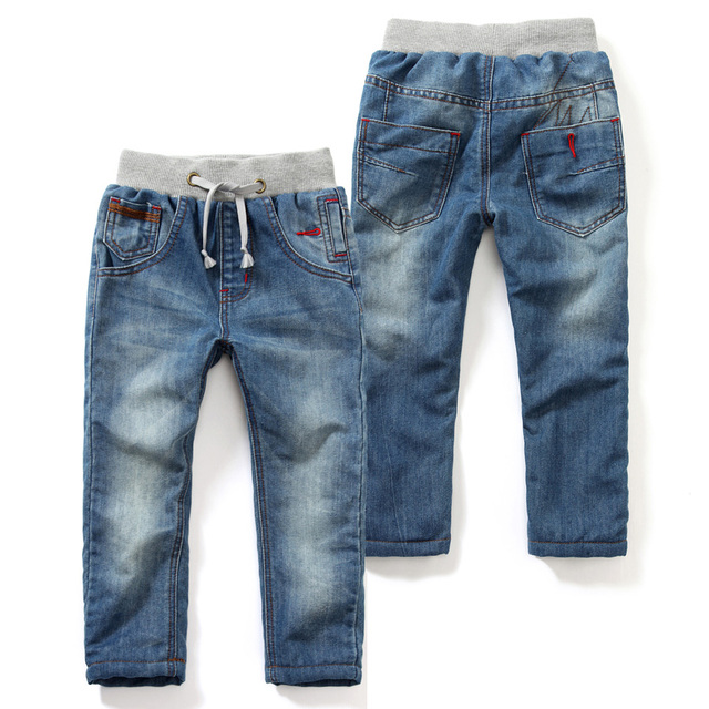 Littlespring Kids Clothes Thicken Boys Jeans With Velvet Drawstring Jeans Kids Blue Denim Trousers Pantalon Garcon Jeans 2 9y In Jeans From Mother Kids