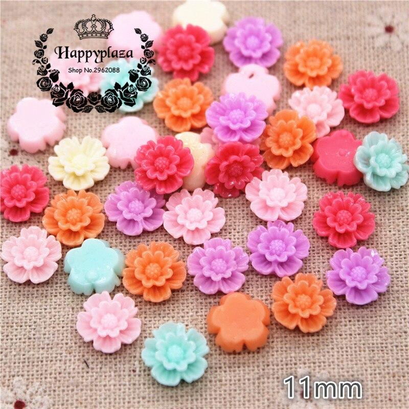 50pcs 11mm Mix Colors Resin Flower Flatback Cabochon DIY Jewelry Phone Decoration