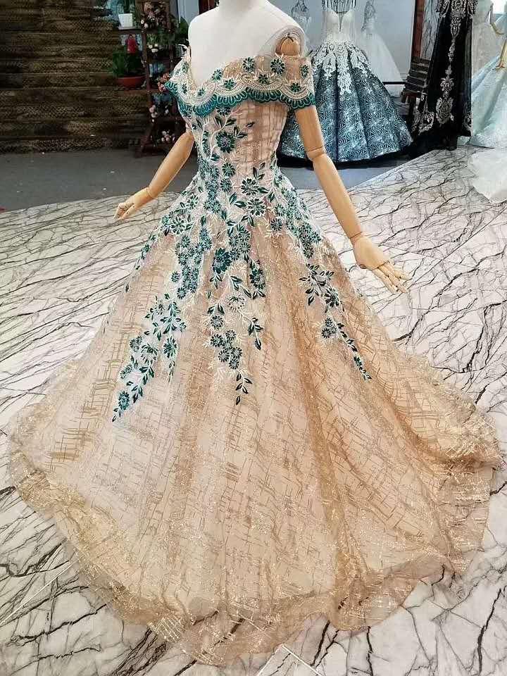 CloverBridal glitter bling A line longitud del piso del hombro dorado verde vestidos de graduación 2019 nuevos vestidos de fiesta largos