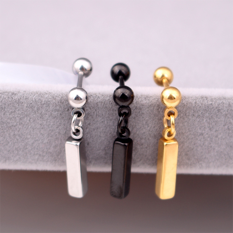 Fashion Women Men Punk Silver Gold Black Square Stainless Steel Round Ball Barbells Cube Chain Earrings Brincos Jewelry