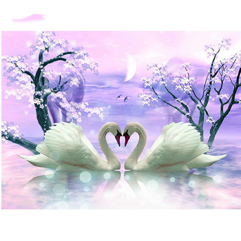 Home Decoration Two Swans 5d Diamond Embroidery Diy Diamond Paiting Round Drill Rhinestone Crafts Needlework Gift YY image