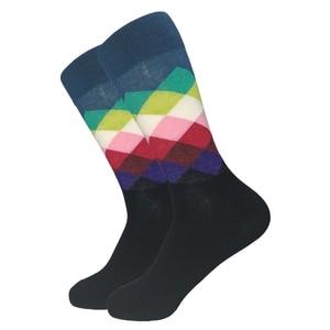 Image 3 - 2019 الوقت محدود القياسية الجوارب غير رسمية الرجال موضة رجالي جوارب قطنية ملونة الجاكار الفن ضرب نقطة ملونة طويلة سعيد جورب