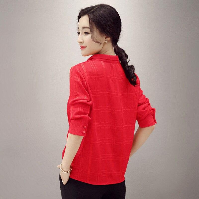 En Vêtement Hauts blanc À Femme Mode Chemise O Été Manches Décontracté 2019 Noir rouge Lâche Nouveau Mousseline Supérieure Qualité cou Pour Longues 5qWw7Af8