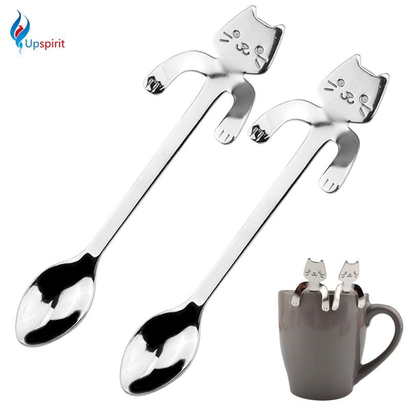 New 2Pcs Stainless Steel Coffee & Tea Spoon Mini Cat Long Handle Creative Spoon Drinking Tools Kitchen Gadget Flatware Tableware