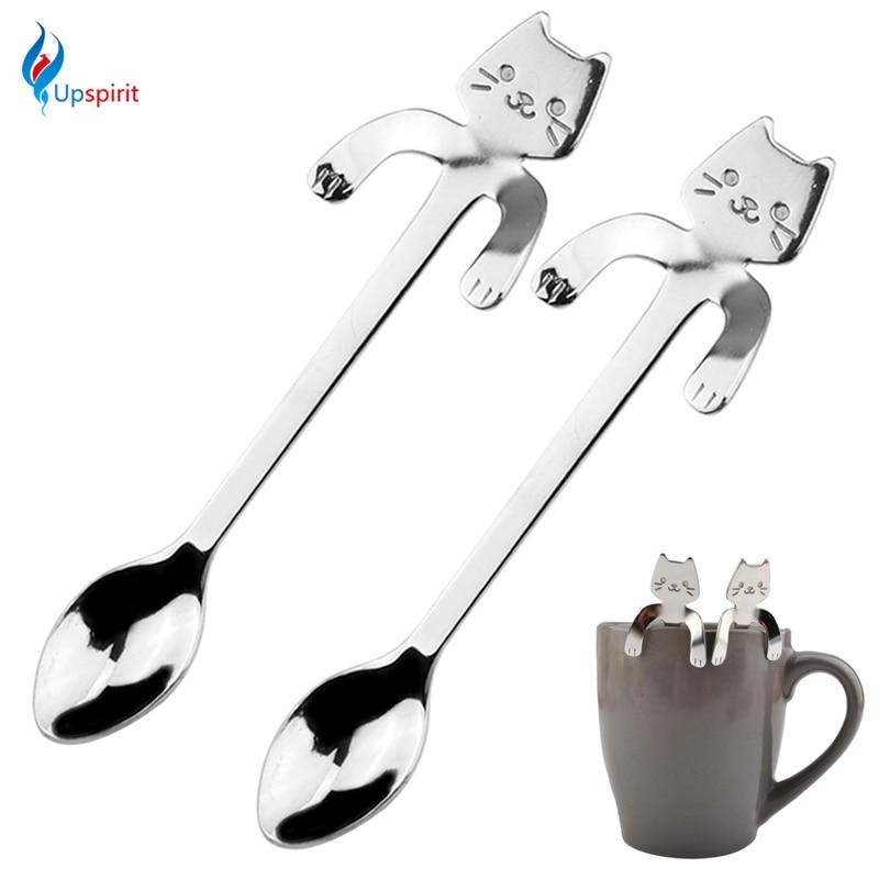Новинка, 2 шт., ложка для кофе и чая из нержавеющей стали, мини-кошка с длинной ручкой, креативная ложка, питьевые инструменты, кухонный гаджет...