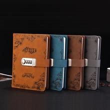 Vintage Mot de Passe Livre avec Serrure Cahier Journal Cryptage Creative Étudiant Bloc Notes Papeterie Portable