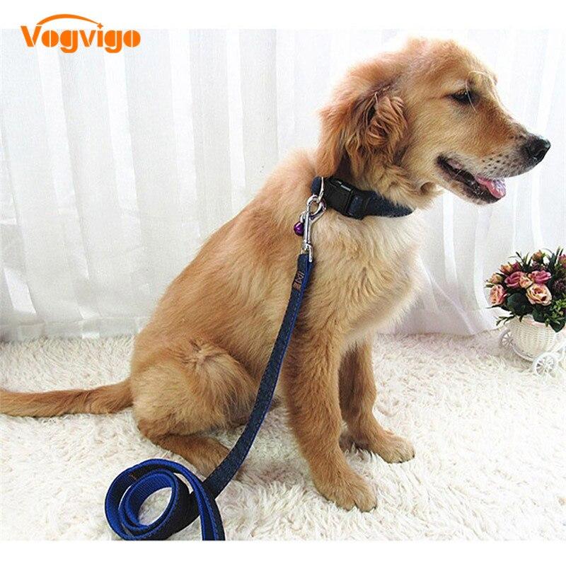 VOGVIGO Hot Sales Colorful Jean Denim Leash Harness Dog Collar Chain Cat Rope Belt Adjustable pet Collar Traction Rope Set60-65