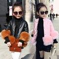 3-9Y Novo Outono Inverno Gola Alta Meninas Faux Leather Jacket Moda de Boa Qualidade Decoração da Pele Do Falso Meninas Roupas 3 Cores
