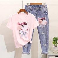 2019 sweet rivet sequined cartoon pig pant suit summer women two Pieces Set flowers t shirt+jeans hole pant set women se170