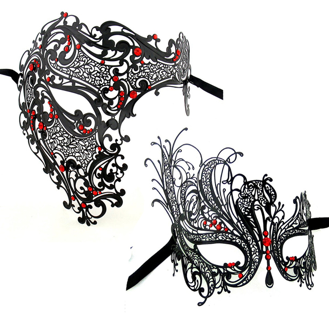 Black Gold Silver Red Rhinestons Half Skull Couple Mask