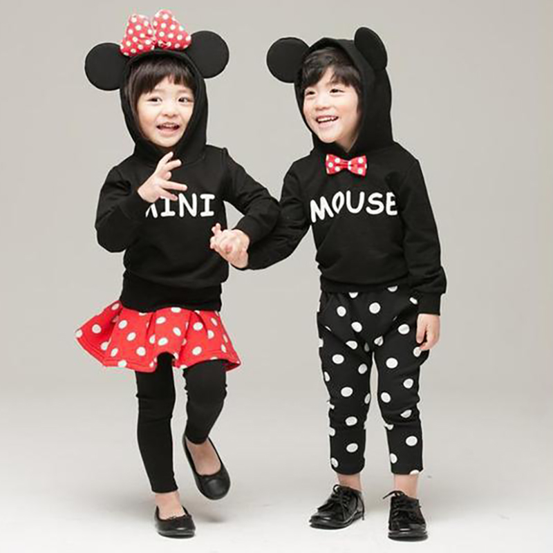 2017 Spring Cute Cartoon Mickey Kids Clothes Children with Cap Clothing Sets Baby Girls Clothes Sweater Coat with Velvet spring kid boys girls print sweater with hat children casual clothing 2016 children s sets summer kids baby boy clothes 2987
