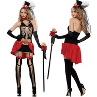 Women Halloween Skeleton Dress Sexy Cosplay Party Fancy Fantasia Cosplay Dress for Adult Woman Skull Role Paly Clothing Female