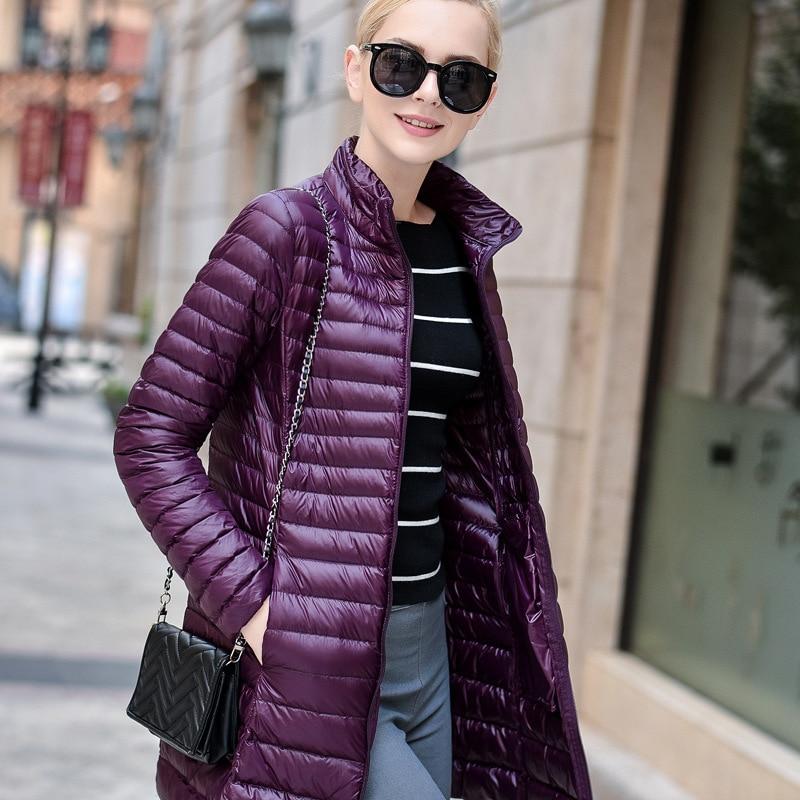 Brand New Women Midi Length Winter Down Coat White Duck Down Jacket Female Warm Outerwear Parka Jacket