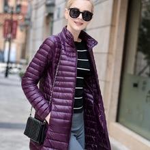Brand New Women Midi Length Winter Down Coat White Duck Down