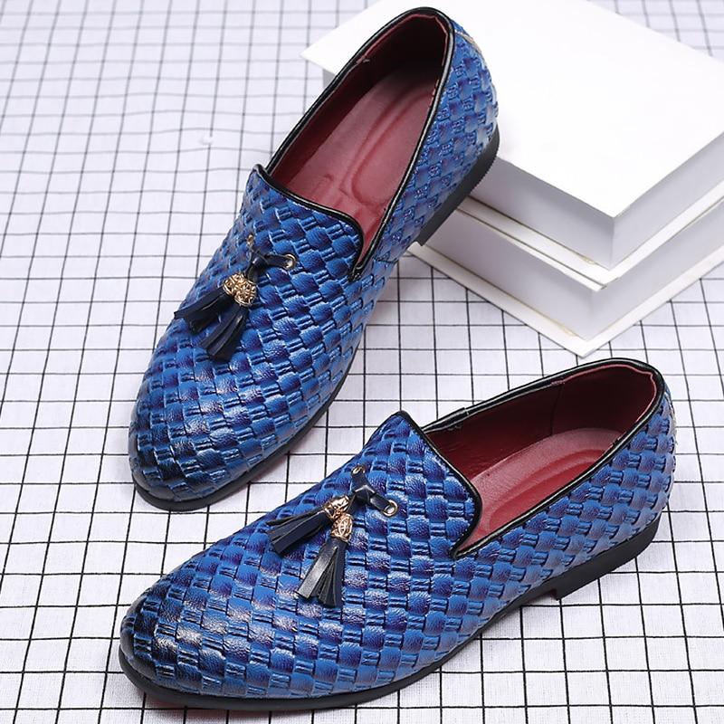 Plus Franja blue Mocassins Homem Sapatos on Borracha Size Hombre black 48 De White Slip 2019 Masculinos Couro Zapatos Tecer 40 nY0q4qwU