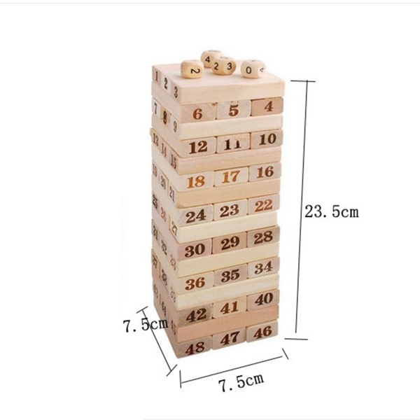 48pcs stacked high Domino digital building blocks layer cascading pumping intellectual children 39 s wooden toys in Domino from Toys amp Hobbies
