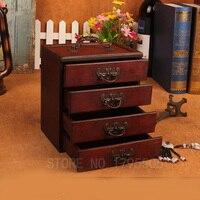 Vintage Wooden Storage Box Jewelry Makeup Organizer Wood Box Make Up Boxes Dressing Box Cosmetics Organizer Desktop Decor Drawer