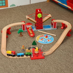 Деревянная железная дорога, прямой и изогнутый рельсовый поезд, игрушечный автомобиль, детские игрушки, t-homas, игрушечный поезд, модель, дере...