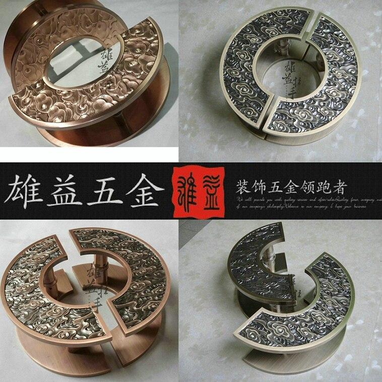 Chinese antique bronze clouds engraving large semicircular glass door handle Hotel wood door Handle Stock