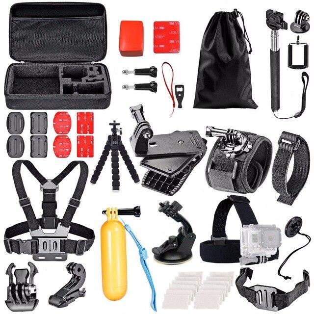 Для SJCAM SJ4000 Действий Камеры Аксессуары Комплект для Gopro hero 5 Грудь глава Зажим Рука Крепления Мешок Автомобильный Адаптер для SJCAM 40