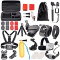 Para sjcam sj4000 action camera acessórios set kit para gopro hero 5 cabeça no peito saco de mão da braçadeira de montagem adaptador para carro para sjcam 40