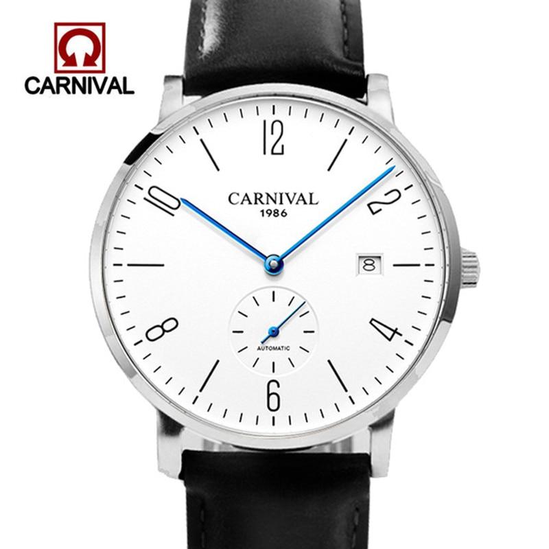 Carnaval Relógio Automático Men Mecânica Watche 30 M Relógio de Pulso À Prova D' Água Militar Mens Cristal De Safira erkek kol saati